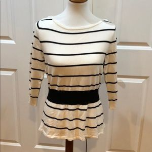 WHBM black and white striped sweater size M